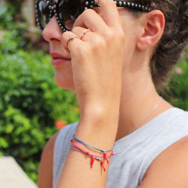 bracciale cornetto portafortuna smalto rosso in argento 925