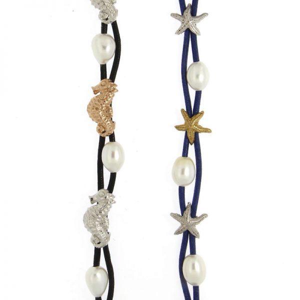 bracciali in cotone con perle stelle marine e cavallucci