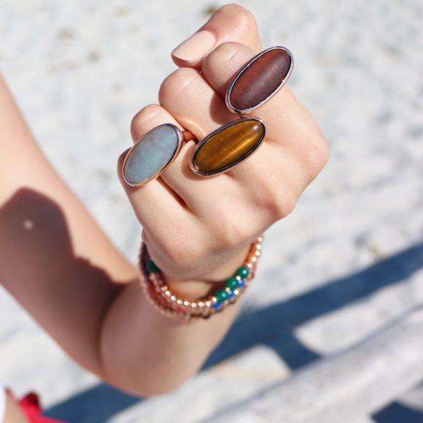 anelli ovali pietre naturali