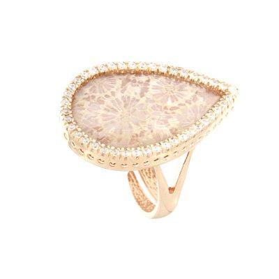 anello goccia corallo fossile e zirconi