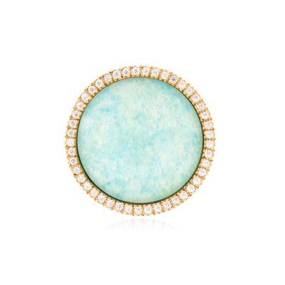 anello giada azzurra cristallo di rocca e zirconi