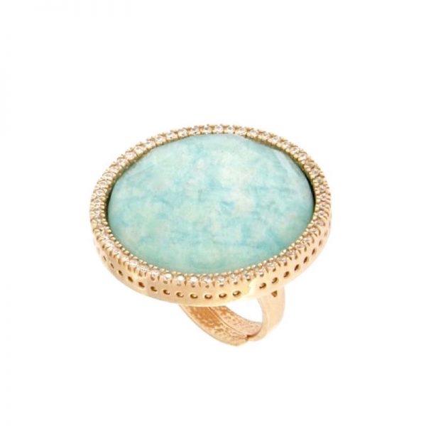 anello giada azzurra cristallo di rocca dettaglio