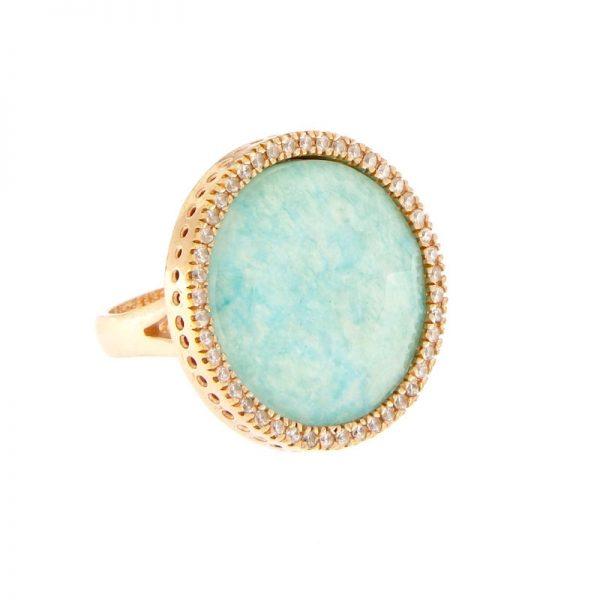 anello giada azzurra cristallo rocca zirconi argento 925