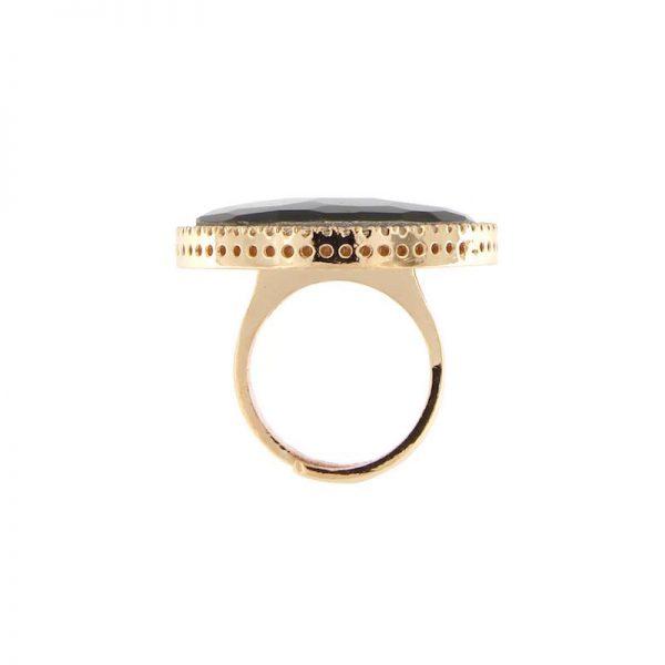 anello madreperla grigia cristallo di rocca dettaglio