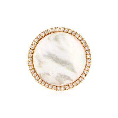 anello madreperla cristallo di rocca e zirconi