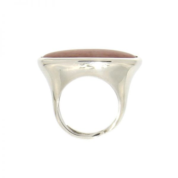 anello ovale con rodocrosite in argento 925