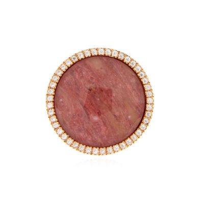 anello rodocrosite cristallo di rocca e zirconi