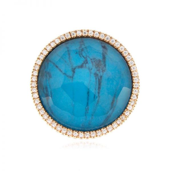 anello turchese cristallo rocca rotondo grande