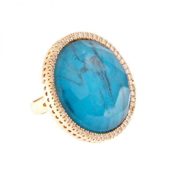 anello turchese cristallo di rocca misura grande