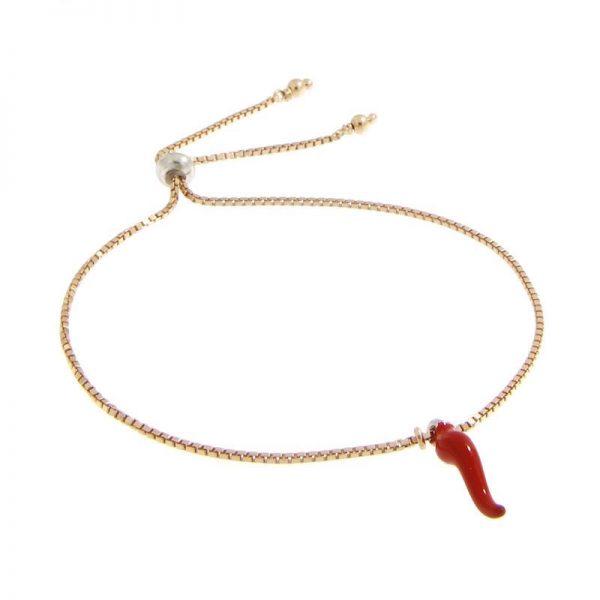 bracciale charm con cornetto portafortuna smaltato rosso in argento 925 dorato rosa