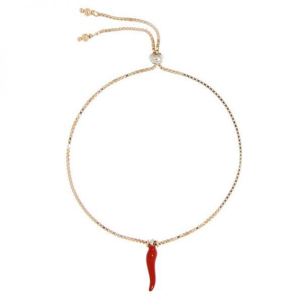 bracciale con charm cornetto portafortuna smaltato rosso argento 925