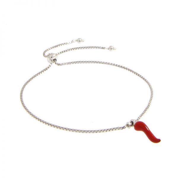 bracciale con charm cornetto portafortuna smaltato rosso in argento 925