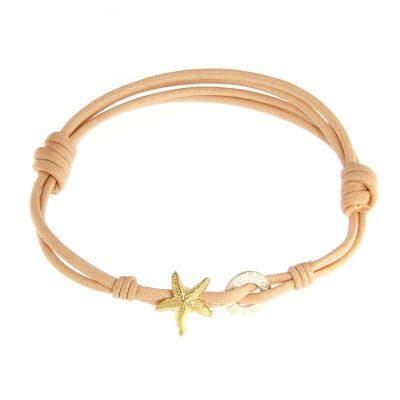 bracciale cordino stella marina dorata