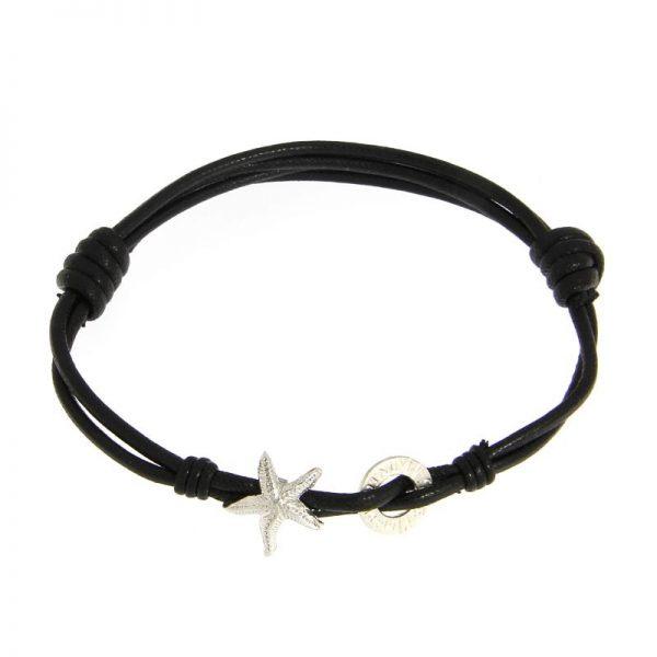 bracciale cordino cotone stella marina nero