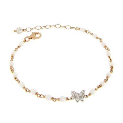 bracciale rosario agata bianca farfalla