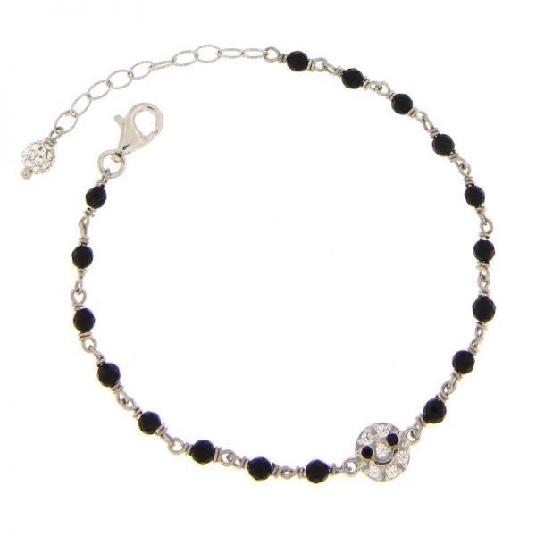 bracciale rosario onice nero smile argento 925