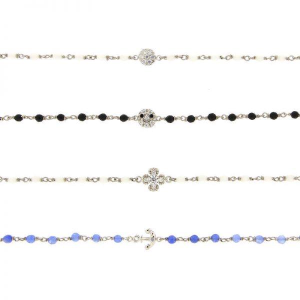 bracciali rosario argento 925 pietre naturali