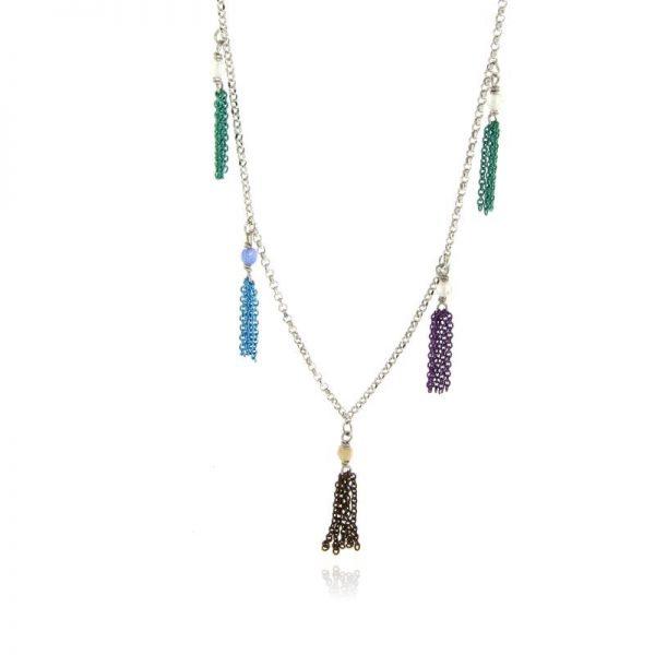 collana nappine pietre colorate argento 925 rodio