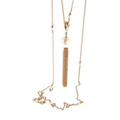 collana pendente perla e nappa in argento 925 dorato rosa