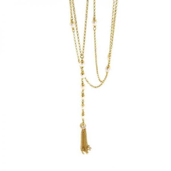 collana pendente perle e nappa in argento 925 dorato