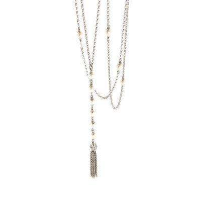 collana perle nappa argento 925 rodiato