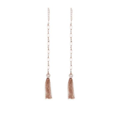 orecchini perle e nappine argento 925 dorato rosa