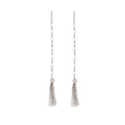orecchini perle nappine argento 925 rodiato