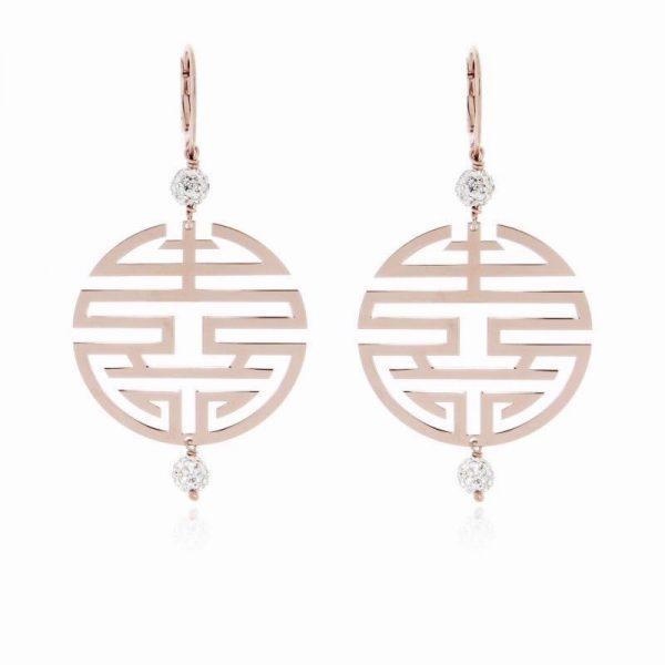orecchini simbolo felicità argento 925 dorato rosa