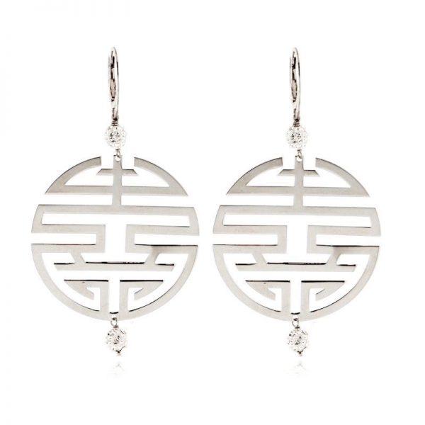 orecchini simbolo felicità argento 925 zirconi