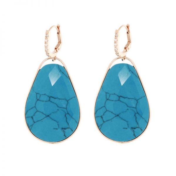 orecchini goccia turchese cristallo di rocca