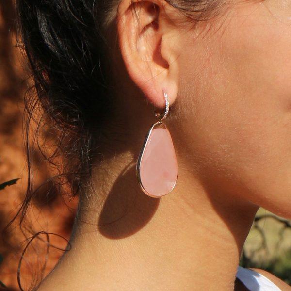 orecchini goccia giada rosa cristallo rocca dettaglio