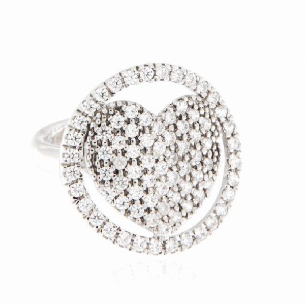 anello cuore pavé zirconi argento 925