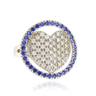anello cuore zirconi bianchi blu