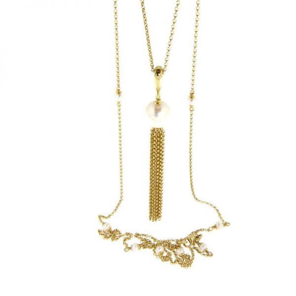 collana lunga perla nappa dorata gialla