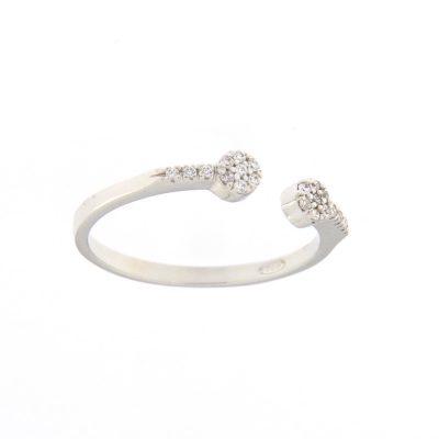 anello aperto doppio pave rodio argento 925