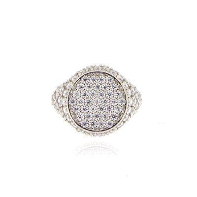 anello chevalier pavé zirconi argento 925