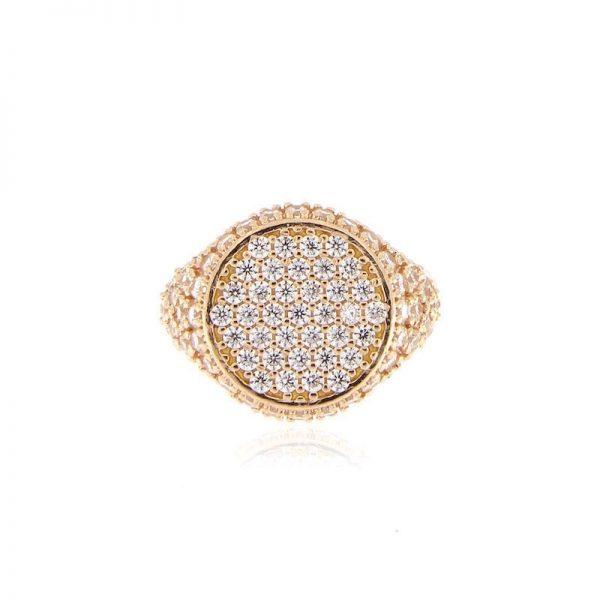 anello chevalier pavé zirconi dorato rosa