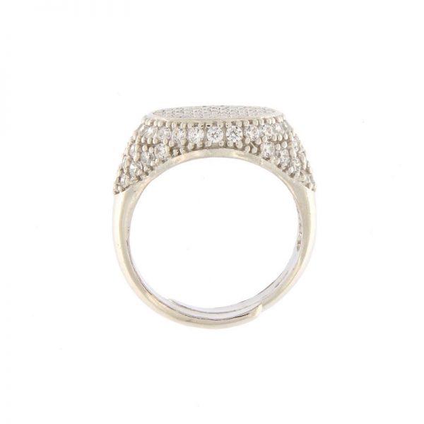 anello chevalier pavé zirconi argento 925 dettaglio
