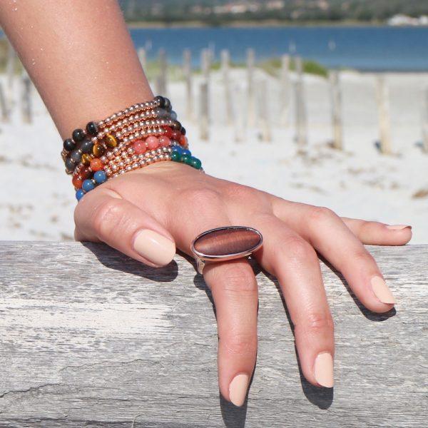 bracciale boho chic gialloro pietre naturali