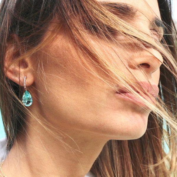 orecchini cristallo gocce indossati