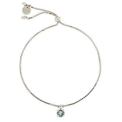 bracciale charm cristallo azzurro argento 925 rodiato