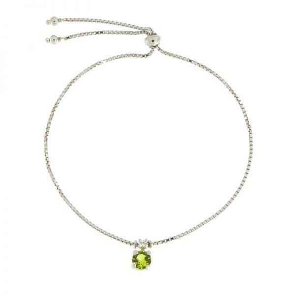 bracciale charm cristallo verde rodio