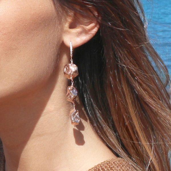 orecchini pepite dorati rosa