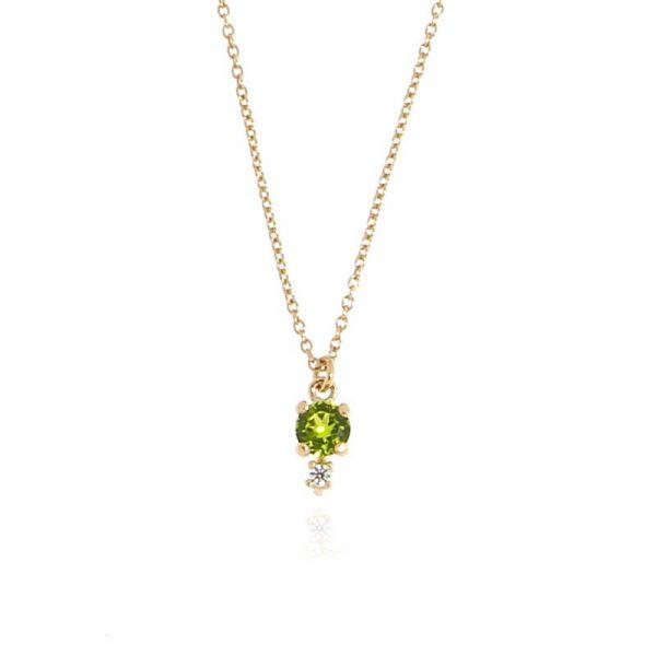 collana charm cristallo verde dorata