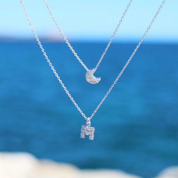 collana charm lettera argento 925