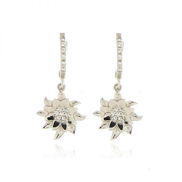 orecchini stella alpina argento 925