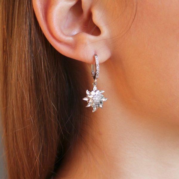 orecchini stella alpina dettaglio indossati