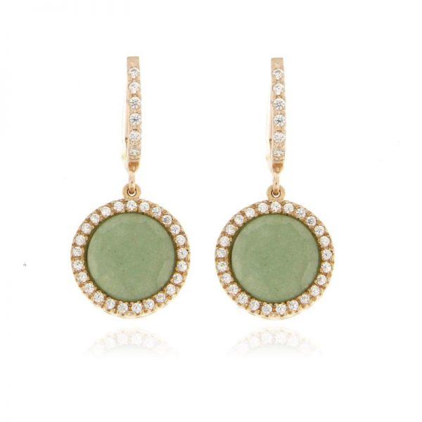 orecchini giada e zirconi rosa argento 925