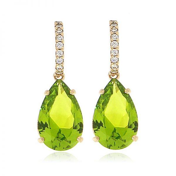 orecchini cristallo gocce verdi