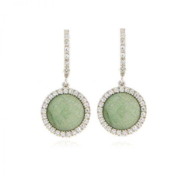 orecchini giada e zirconi argento 925